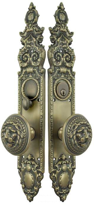 Victorian Gothic Antique Reproduction Entry Door Set With