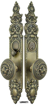 Victorian Gothic Antique Reproduction Entry Door Set with Large Lion Door Knobs (L26SET1)