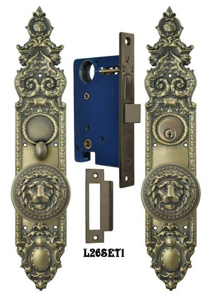 Victorian-Gothic-Antique-Reproduction-Entry-Door-Set-with-Large-Lion-Door-Knobs-(L26SET1)