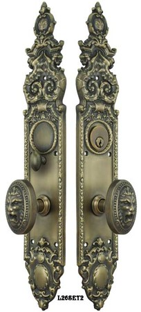 Victorian Heraldic Door Plate with Pavia Lion Knob Entry Door Set (L26SET2)