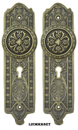 Victorian Gothic Door Plate Set with Skeleton Keyed Mortise Lock (L27MKKSET)