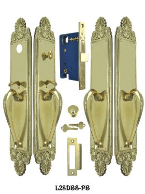 Victorian Scallop Design Double Door Entry Set (L28DBS-PB)