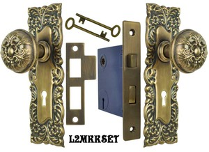 Victorian Door Plate Set with Feather Design Doorknobs and Locking Keyed Mortise (L2MKKSET)
