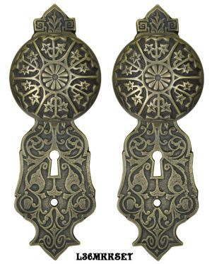 Eastlake Door Plate Set with Locking Keyed Mortise Antiqued Brass (L36MKKSET-DK)