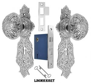 Eastlake-Door-Plate-Set-with-Locking-Keyed-Mortise-Nickel-Plated-(L36MKKSET-NP)