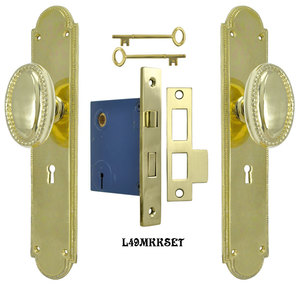Modern Beaded Edge Arched Door Plate Set with Locking Keyed Mortise (L49MKKSET)