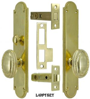 Modern Beaded Edge Door Plate Tubular Passage Set with Locking Turnlatch (L49PTSET)