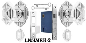 Art-Deco-Door-Knob-and-Rosette-Set-w/-Skeleton-Keyed-Mortise-Lock-(L51MKKSET2)