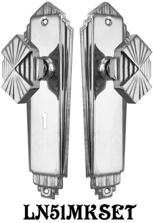 Art-Deco-Privacy-Door-Plate-Set-with-Skeleton-Keyed-Mortise-Lock-(L51MKSET)