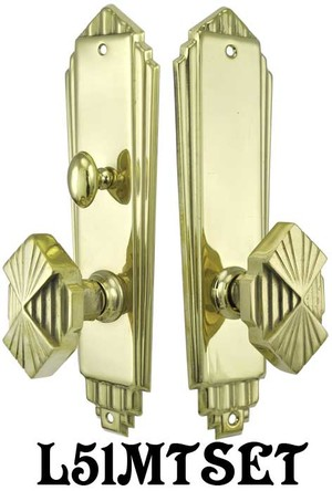 Art-Deco-Privacy-Door-Set-Complete-with-Locking-Turnlatch-Mortise-(L51MTSET)
