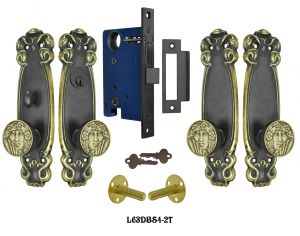 Art Nouveau 2 Tone Double Door Entry Set (L63DBS4)