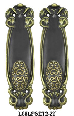 Art Nouveau Passage Door Plate Set (L63LPSET2)