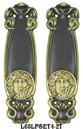 Art Nouveau Passage Door Plate Set (L63LPSET4)