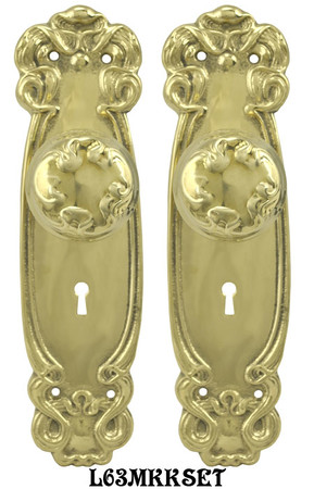 Art-Nouveau-Door-Plate-set-with-Locking-Keyed-Mortise-(L63MKKSET)