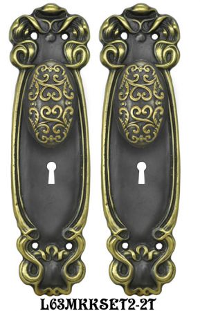 Art Nouveau Door Plate set with Locking Keyed Mortise (L63MKKSET2)