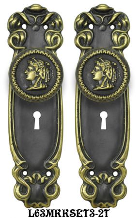 Art Nouveau Door Plate Set with Locking Keyed Mortise (L63MKKSET3)