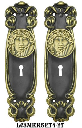 Art Nouveau Door Plate Set with Locking Keyed Mortise (L63MKKSET4)