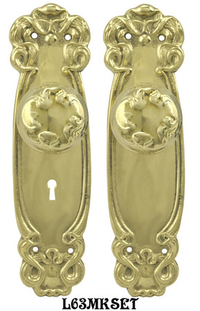 Art-Nouveau-Door-Plate-Set-with-Locking-Keyed-Mortise-(L63MKSET)