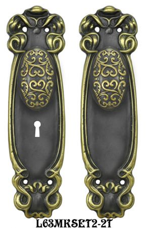 Art-Nouveau-Door-Plate-set-with-Locking-Keyed-Mortise-(L63MKKSET2)