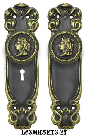 Art Nouveau Door Plate Set with Locking Keyed Mortise (L63MKSET3)