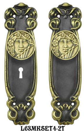 Art Nouveau Door Plate Set with Locking Keyed Mortise (L63MKSET4)