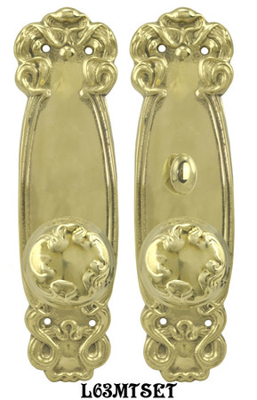 Art-Nouveau-Door-Plate-Set-with-Locking-Turnlatch-Mortise-(L63MTSET)