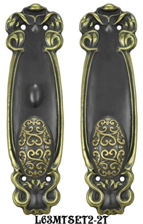 Art Nouveau Door Plate Set with Locking Turnlatch Mortise (L63MTSET2)
