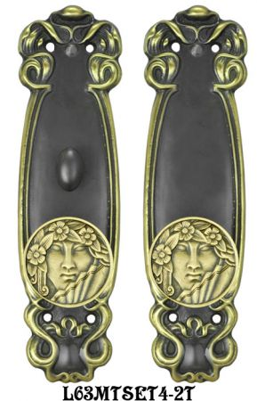 Art Nouveau Door Plate Set with Locking Turnlatch Mortise (L63MTSET4)