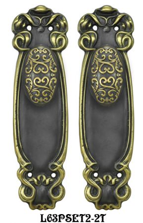 Art Nouveau Passage Door Plate Set (L63PSET2)