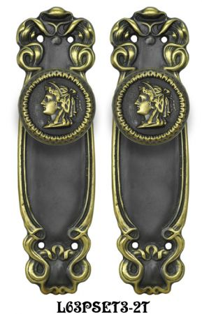 Art Nouveau Passage Door Plate Set (L63PSET3)