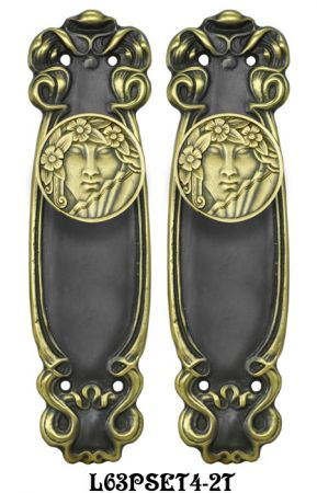 Art Nouveau Passage Door Plate Set (L63PSET4)