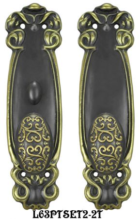 Art-Nouveau-Door-Plate-Passage-Set-with-Locking-Turnlatch-(L63PTSET2-2T)