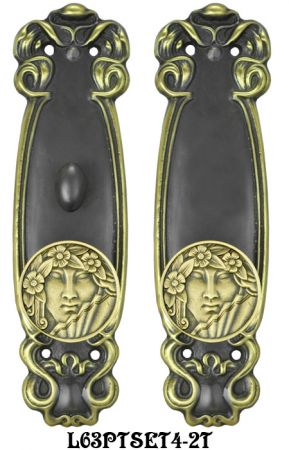Art Nouveau Door Plate Passage Set with Locking Turnlatch (L63PTSET4)