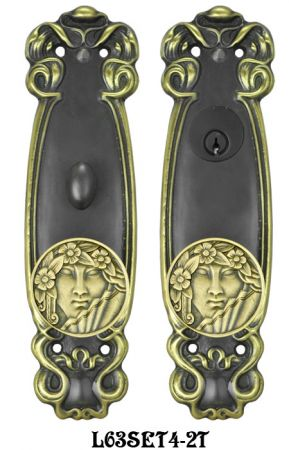 Art Nouveau Door Plate Entry set (L63SET4-2T)