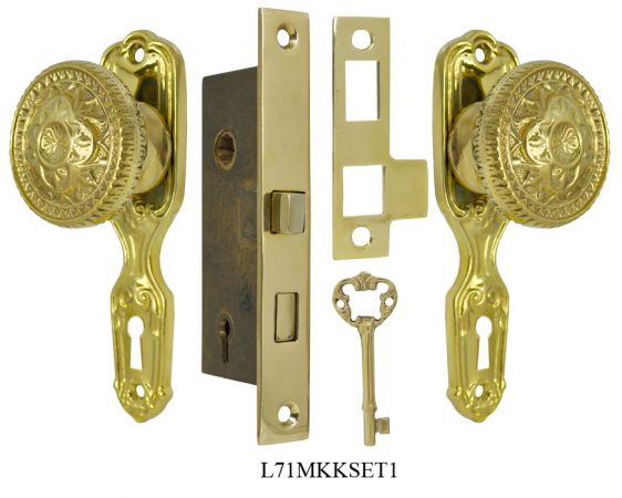 Narrow Backset French Door Set with Fancy Victorian Knob (L71MKKSET1)