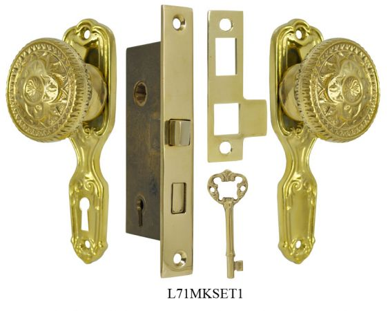 Narrow Backset French Door Set with Fancy Victorian Knob (L71MKSET1)