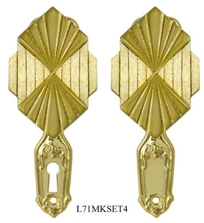 Art-Deco-or-Nouveau-Style-Petite-Backplate-Privacy-Door-Set-(L71MKSET4)