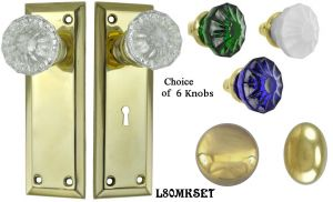 Contemporary Solid Brass Door Plate Mortise Lockset (L80MKSET)