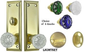 Contemporary Solid Brass Door Plate Set with Locking Turnlatch Mortise (L80MTSET)