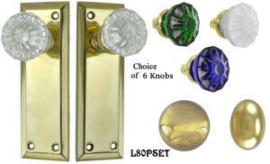Contemporary Solid Brass Door Plate Passage Set (L80PSET)