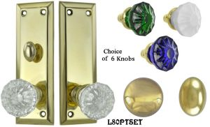 Contemporary Solid Brass Door Plate Passage Set with Locking Turnlatch (L80PTSET)