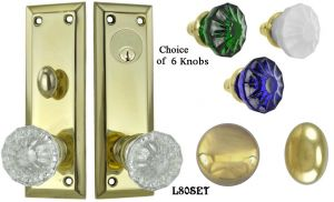 Contemporary Solid Brass Plain Door Plate Entry Set (L80SET)