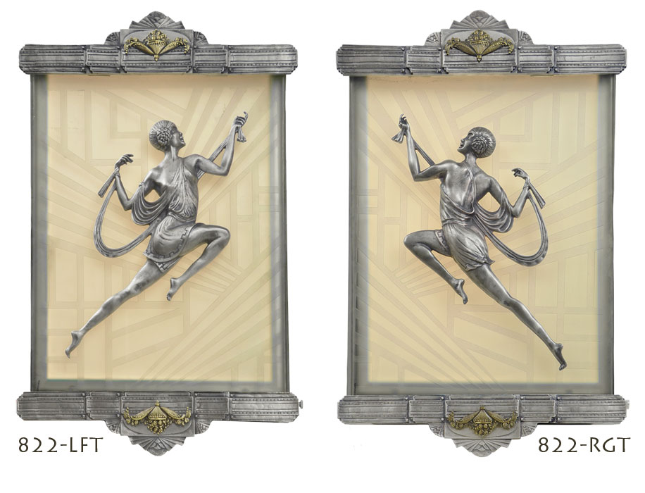 Antique Theater Wall Sconces : Vintage Hardware & Lighting - Art Deco Wall Sconces Recreated Figural Lighting from Gori Antique ...