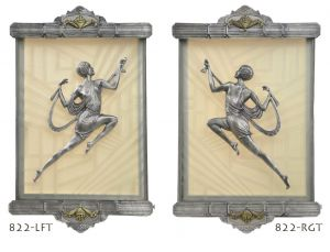 Art Deco Wall Sconces Recreated Figural Lighting from Gori Antique (822-LFT/RGT)