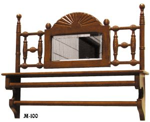 Furniture Recreated Eastlake Bobbin Oak & Mirror Shelf (M-100)