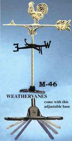 Weather Vane Recreated Brass Top Rooster Weather Vane (M-46)
