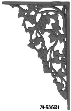 Matte Black Cast Iron Grape & Leaf Design Large Shelf Bracket (M-53SBI)