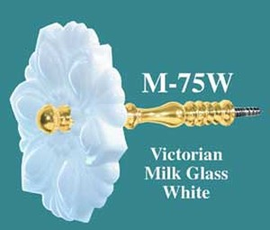 Pressed Glass Curtain Tieback White (M-75W)