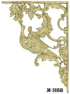 Large Solid Brass Bird Of Paradise Shelf Bracket (M-76SB)