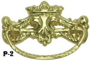 "Victorian Crown Design Brass Handle 3"" Boring (P-2)"